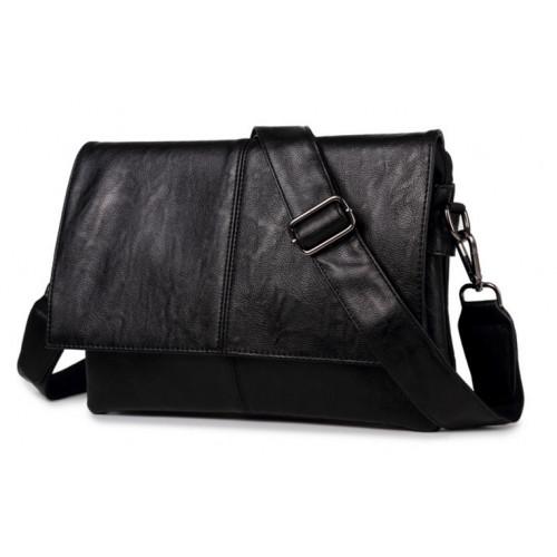 Для мужчин сумка черная на ремне горизонтальная