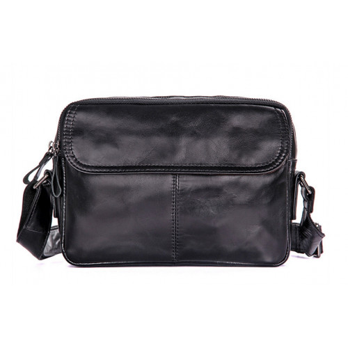 Кожаная черная сумка мужская Горизонтальная На широком плечевом ремне