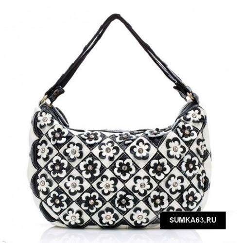Черно-белая женская сумка с цветочками Натуральная кожа  3600р.